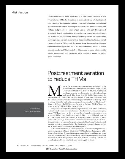 Posttreatment Aeration to Reduce THMs